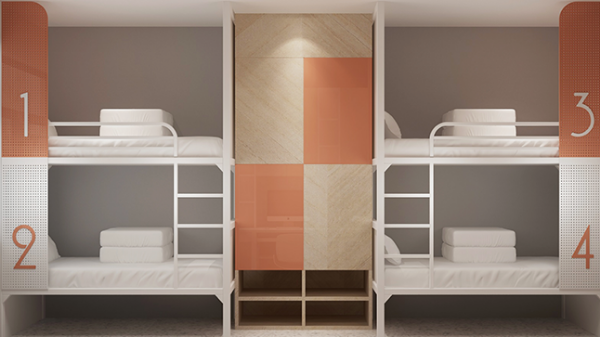 厂家定制工厂宿舍定做青年旅舍上下铺带柜子遮光帘隐私公寓封板床