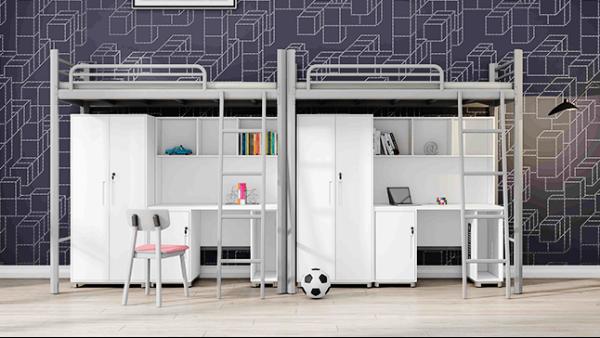 大学生员工学校宿舍连体带柜公寓床成人多功能上床下桌组合床