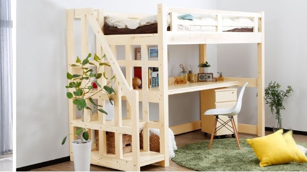 苏州厂家直销松木上床下桌组合床实木儿童床字母上下高低床批发