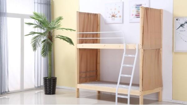 新款学生学校高低床实木 双层木床上下铺床松木带帘子钢木结合