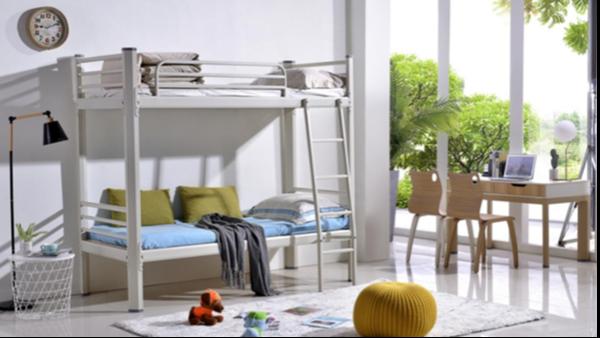 学生床主要分为上下铺铁床以及公寓床