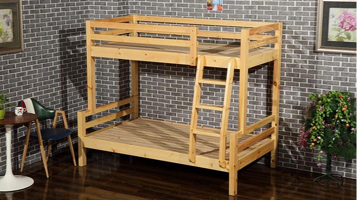 苏州厂家直销松木双层员工宿舍实木儿童床字母上下高低实木床批发