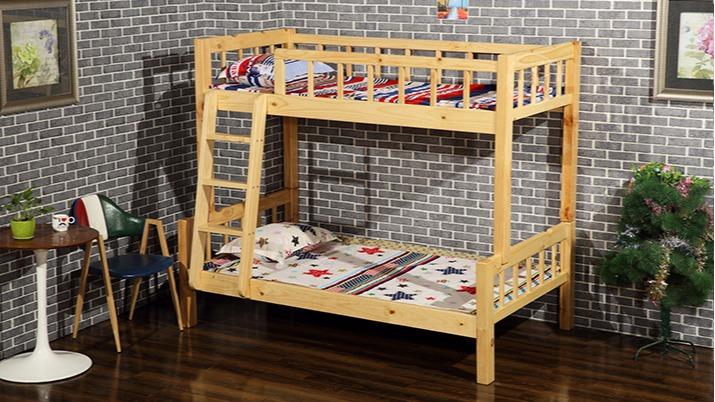 厂家直销松木双层员工宿舍实木儿童床字母上下高低实木床批发