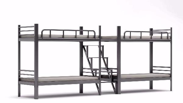上下铺铁床采用中连体步梯,宿舍档次提升数倍!