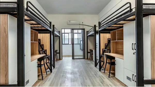 厂家定制学校工厂学生公寓组合床宿舍上床下柜子三人位连体公寓床