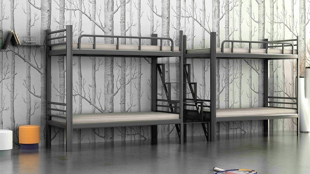 批发员工学生工人宿舍上下铺铁床高低双层学校工厂上下铺铁床楼梯步梯