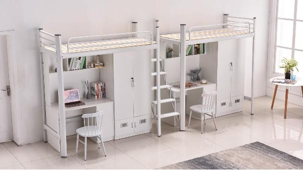 中间步梯公寓床学校公寓员工上床下桌公寓床一体式床多功能床