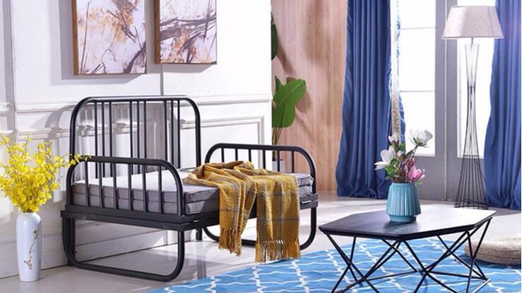 简易沙发床简单简约可折叠沙发床单人床单层床铁艺床两用休息沙发