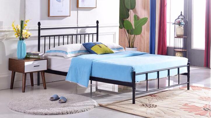 简约1.8米1.5米铁艺床单层铁床双人钢制单人床1.2米单层铁架床