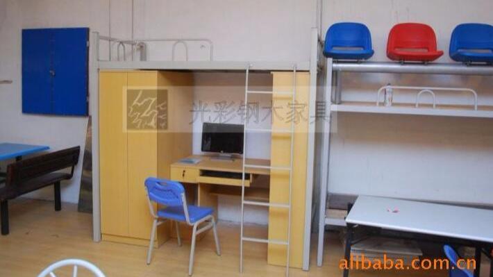 工厂直销公寓铁床 学生上下床 员工宿舍高低床 柜子组合铁床公寓床