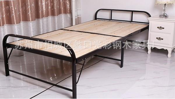 简约折叠钢木床单人床午休家用陪护床实木床客房办公室折叠床批发