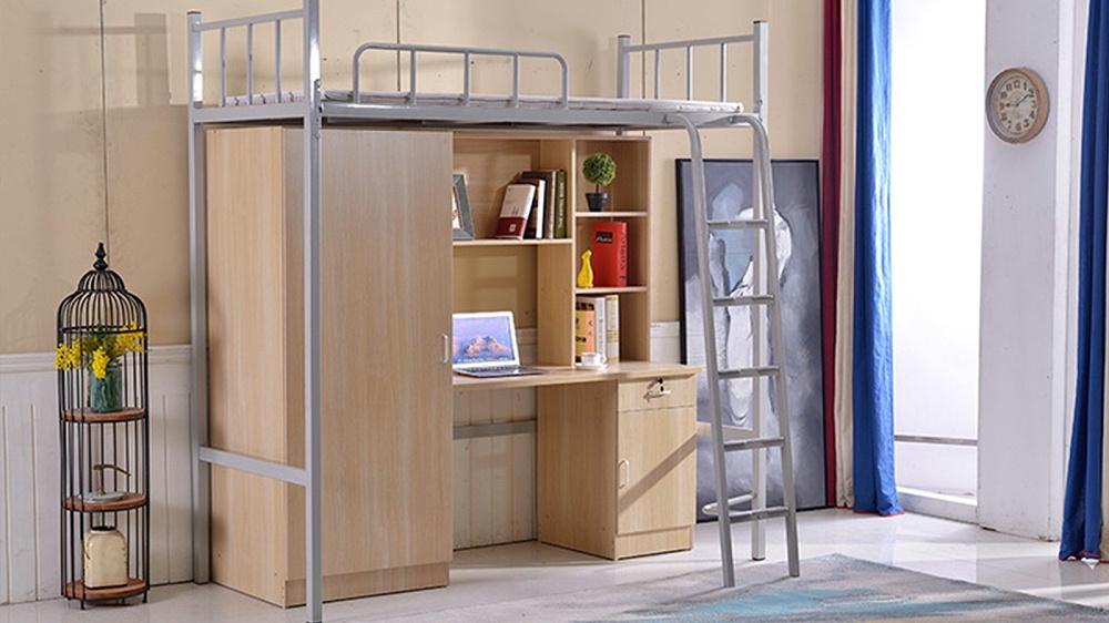 厂家大学生员工学校宿舍连体带柜公寓床成人多功能上床下桌组合床