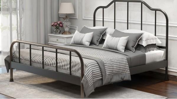 简约现代单层铁艺床1.8米双人宿舍公寓ins1.2米床1.5米单人铁架床