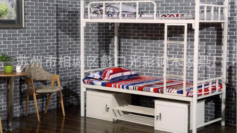 铁床双层学生上下铺宿舍床方管上下插口式公寓床出口厂家