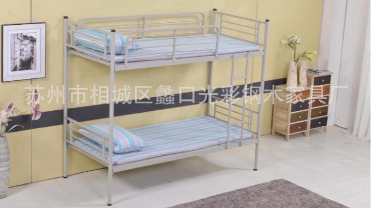 上下铺铁架床员工床 工厂员工宿舍高低床 铁床双层高低铺厂家批发