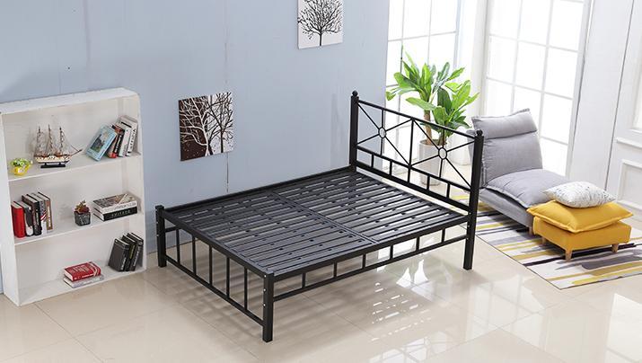 现代简约单层铁艺床铁架床1.5米1.8米 公寓出租屋单人双人床