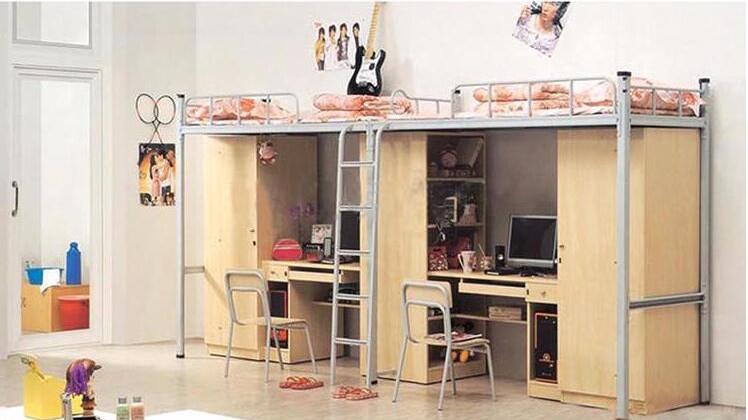 学生公寓床 带衣柜连体组合公寓床 双层单人公寓床