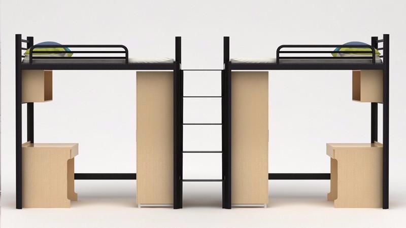 公寓床 镀锌管 中爬梯 两面柜子
