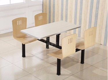 防火板曲木椅面连体餐桌