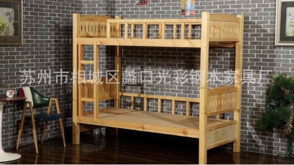 厂家订做双层实木松木单人双人上下床员工宿舍学生幼儿园公寓床