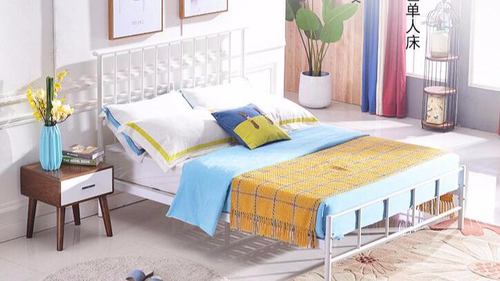 家用宿舍公寓钢制铁架单人层铁艺床架双人床成人1.2米1.5米1.8米