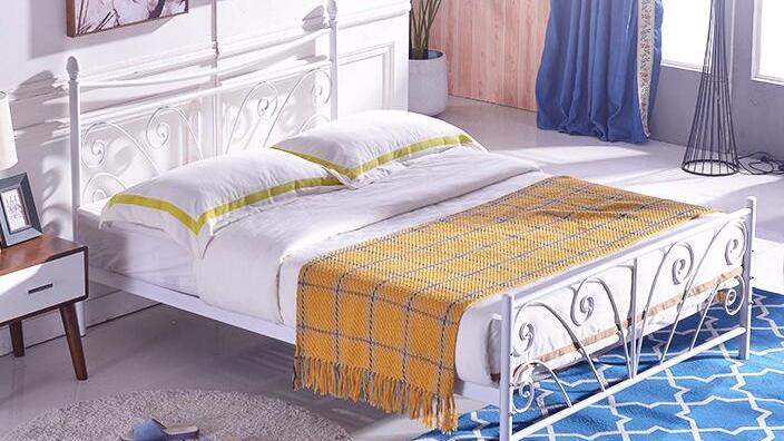 现代1.8米1.5米铁艺床单层铁床双人钢制单人床1.2米单层铁架床