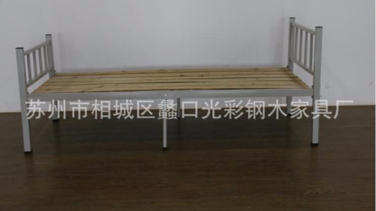 简约单层钢木床单人双人床午休家用实木床客房办公室铁架床批发