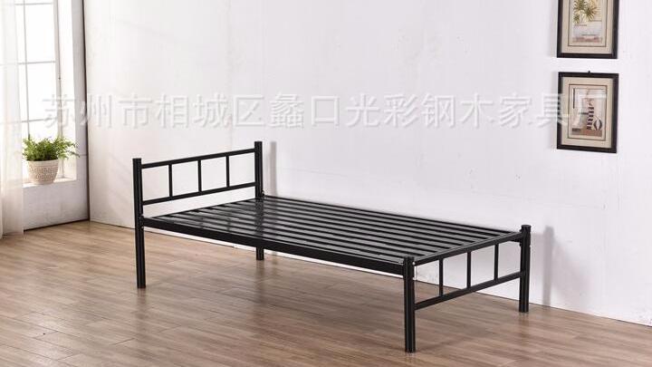 铁艺铁架单人床1.5米可用员工双人床 简易学生宿舍单层铁板床