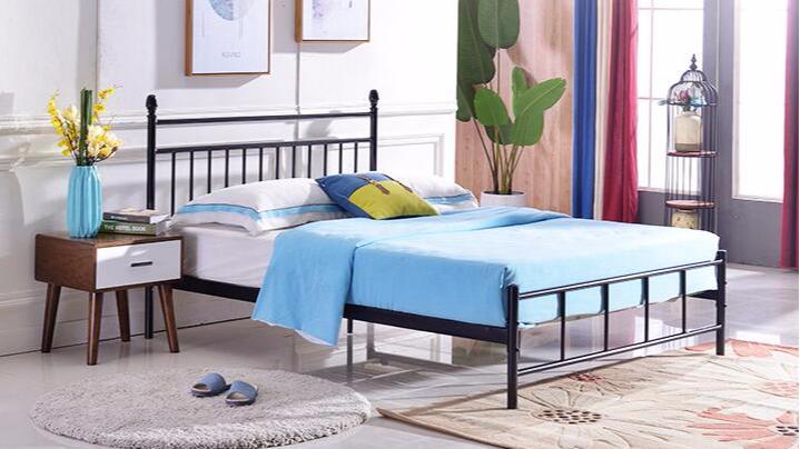 简约1.8米1.5米铁艺床单层铁床双人钢制单人床1.2米单层铁架