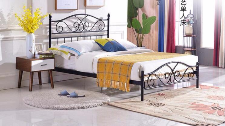 单人床1.2米单层铁架床1.8米1.5米铁艺床单层铁床双人钢制