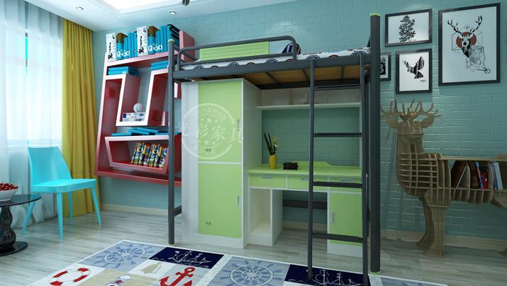 单人床公寓床组合学生宿舍床上床下桌组合床带衣柜书桌铁床