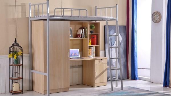 苏州厂家大学生员工学校宿舍连体带柜公寓床成人多功能上床下桌组合床