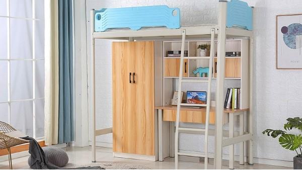 厂家批发学校上床下桌公寓床组合多功能钢制员工大学生宿舍公寓床