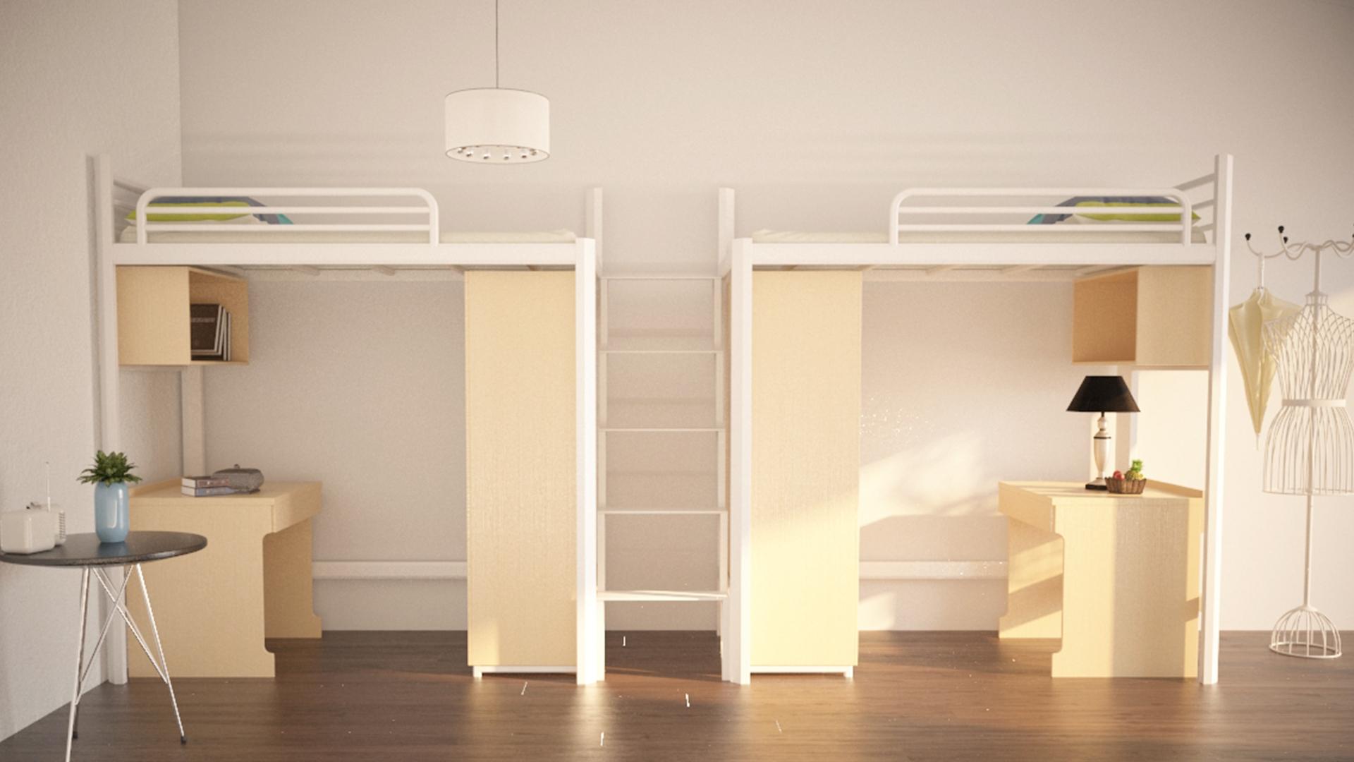 连体公寓床 中爬梯